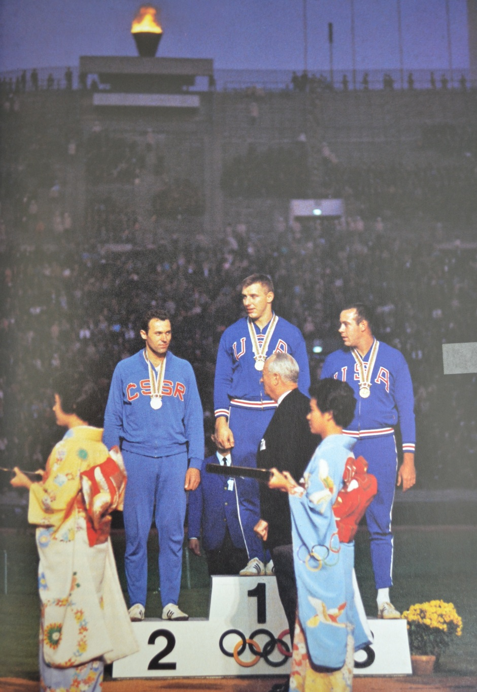 Al Oerter Getting His Gold Medal; from the book