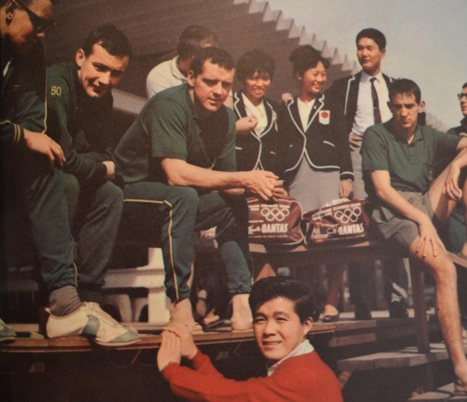 Kyu Sakamoto, crooner of hit song, Sukiyaki, visiting the Olympic Village in 1964. From the book,