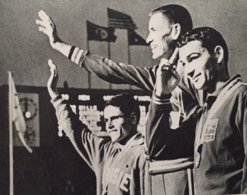 Billy Mills on the Podium, from the book