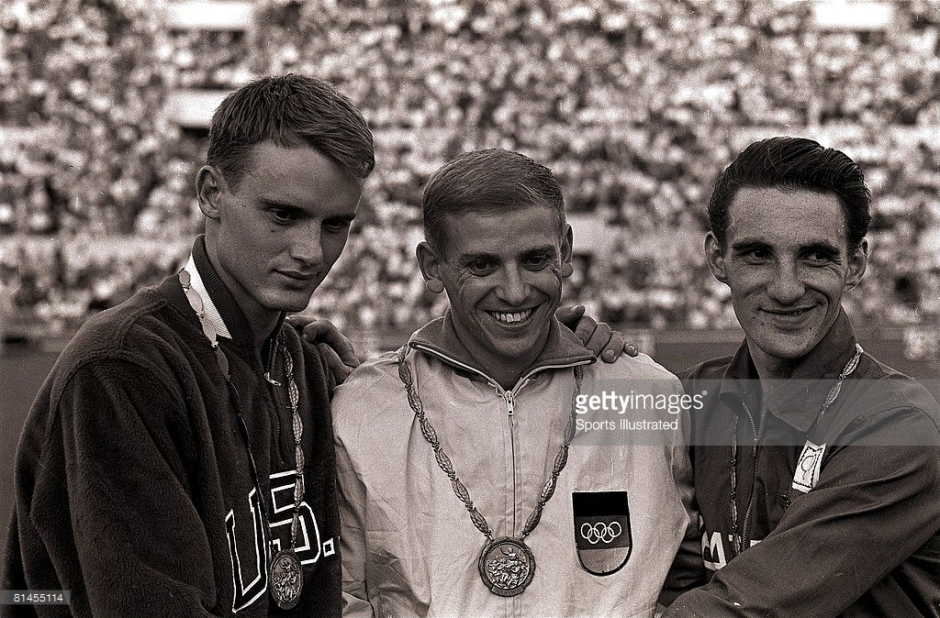 David Same, Armin Hary and Peter Radford - silver, gold and bronze medalists in the 100 meter race in Rome 1960.