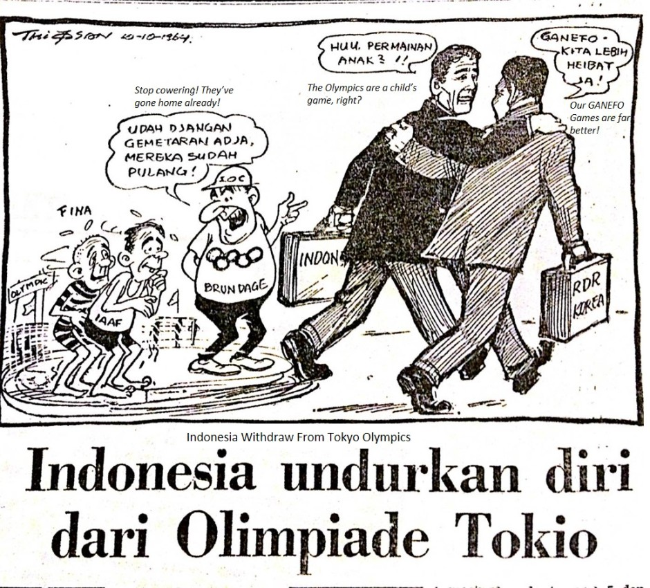 CARTOON: Indonesia Withdraws from Tokyo Olympics, Warta Bhakti- 10 October 1964, p1