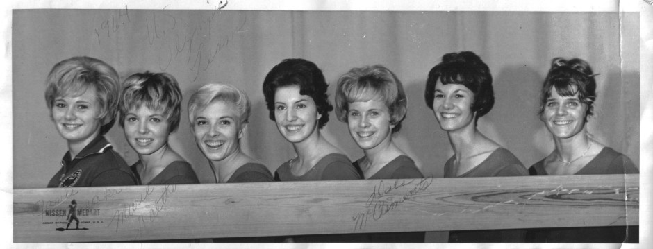 Team USA: Janie Speaks, Marie Walther, Muriel Grossfeld, Linda Metheny, Dale McClements, Kathy Corrigan, Doris Fuchs, from the personal collection of Dale McClements Kephart