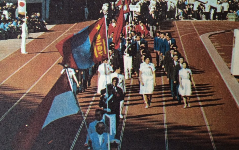 Mongolia marching in tokyo 1964