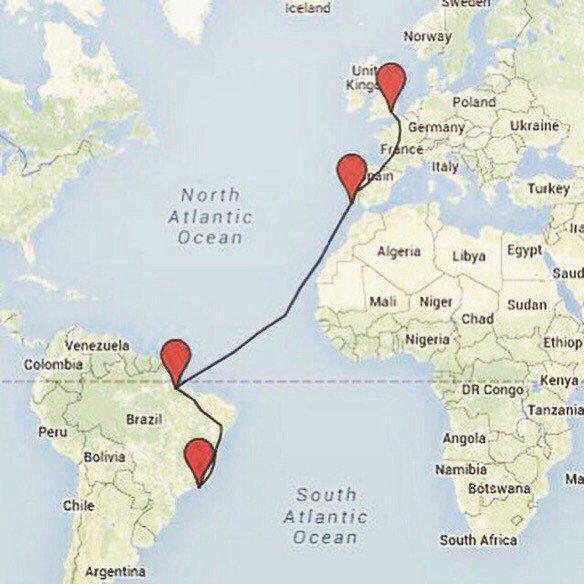 Row2Rio route map