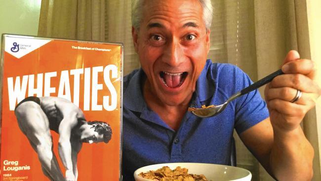 Greg Louganis and his Wheaties box
