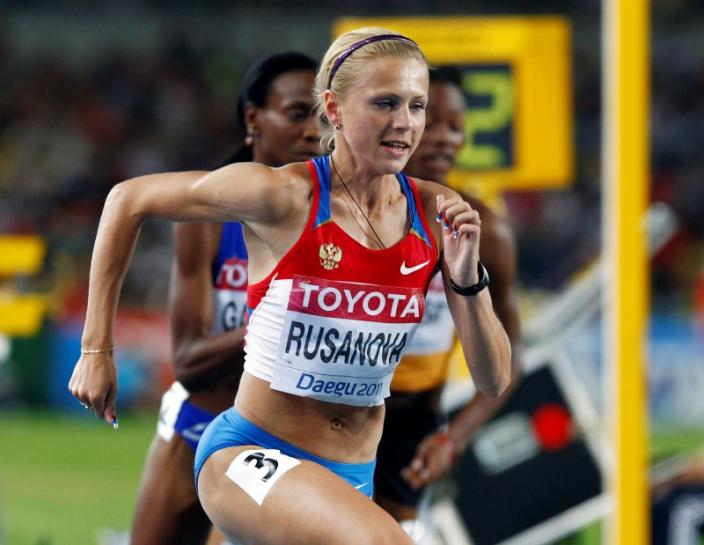 Rusanova of Russia competes during the woman's 800 metres semi-final heat 1 at the IAAF World Championships in Daegu