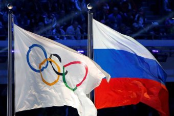 IOC and Russian flags