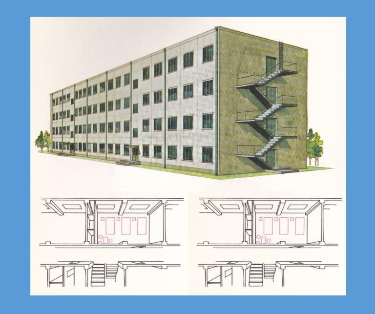 Ferro concrete four story dorm_XVIII Olympiad Bulletin No12