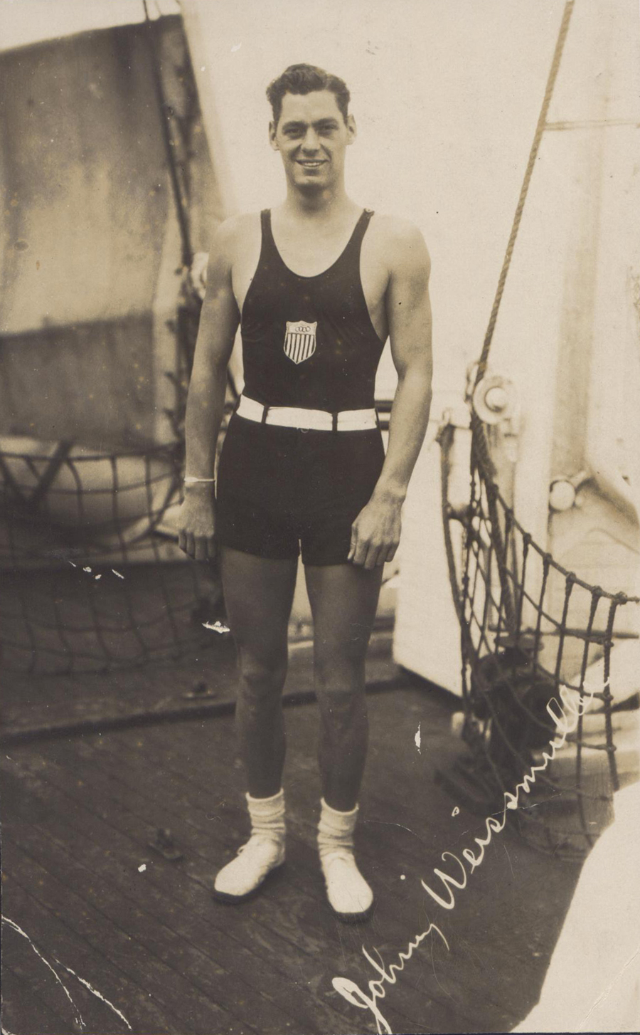 Johnn Weissmuller En route to Paris aboard the S.S. America