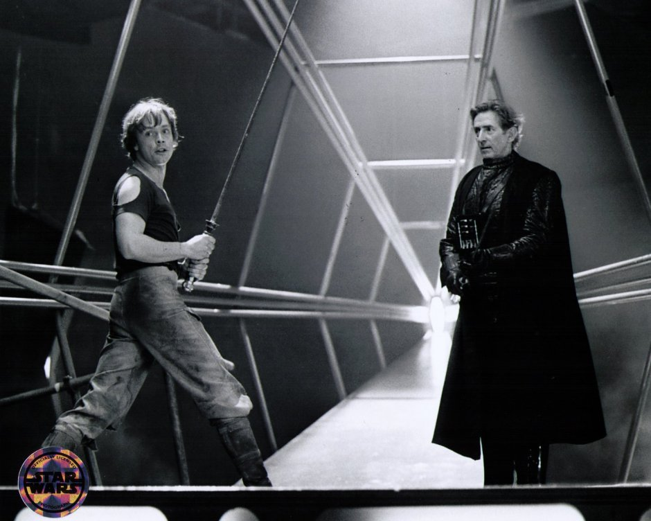 Mark Hamill with Olympian and Darth Vader stand in Bob Anderson