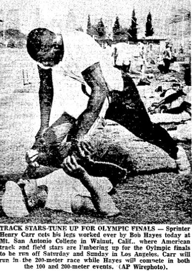 Bob Hayes with Henry Carr at the US Olympic Trials in LA