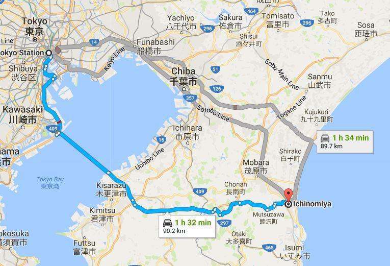 Map to Ichinomiya Tsurigasaki Beach