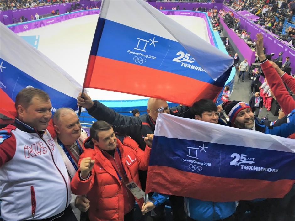 Russians celebrate first OAR medal at 1500 mens short track finals