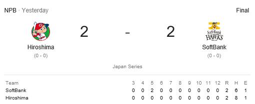 Japan Series Game 1 score